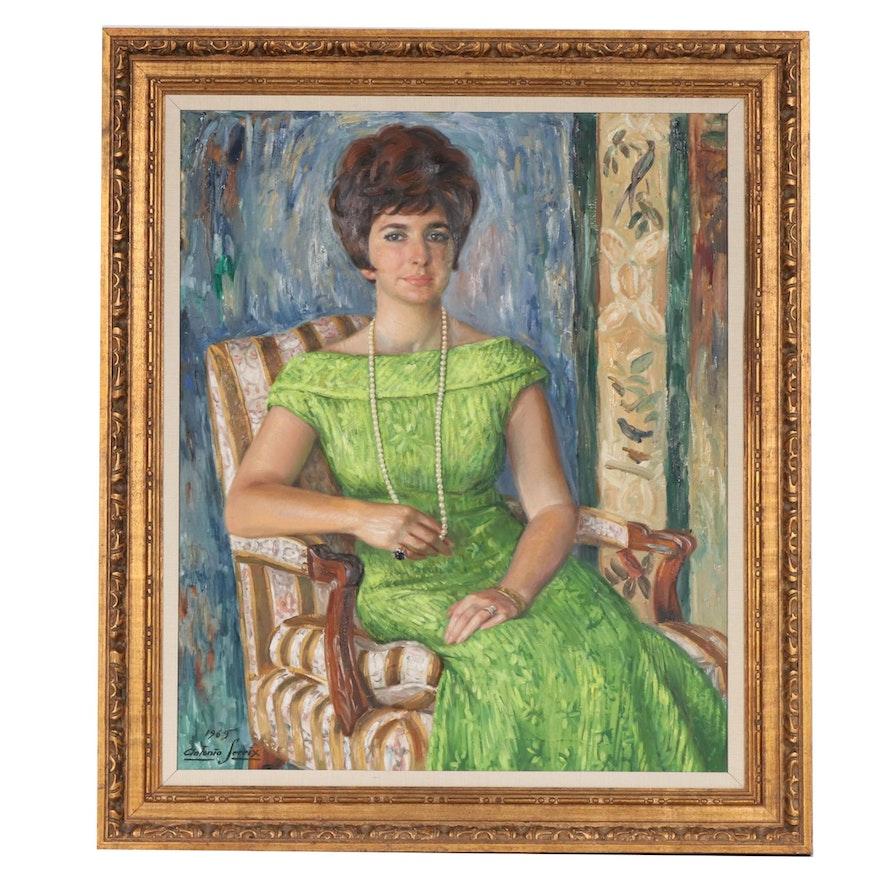 Antonio Sereix Codina Oil Portrait of Seated Woman, 1969