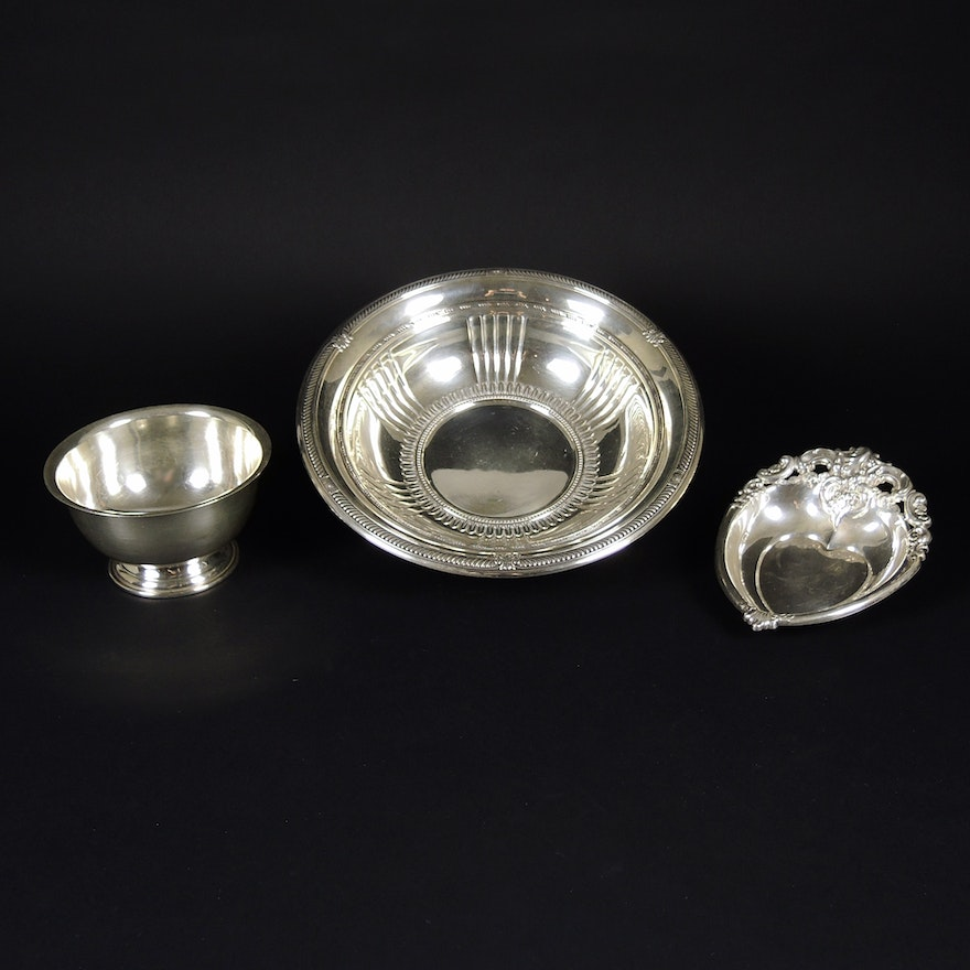 "Sterling Silver Bowls Featuring Wallace ""Grande Baroque"" Heart Bonbon and Gorham"