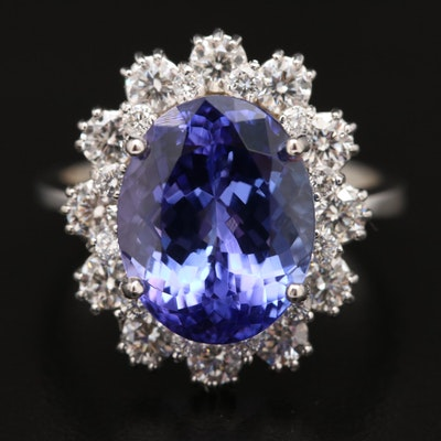 14K Oval Faceted Tanzanite and 1.36 CTW Diamond Halo Ring