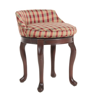 Upholstered Swivel Vanity Stool with Cabriole Legs
