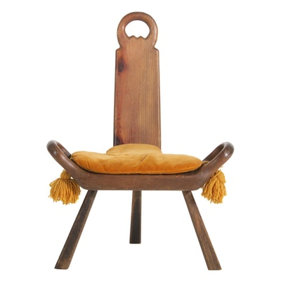 "Don S. Shoemaker for Señal ""Conversation Pieces"" Pine Three-Legged Chair"
