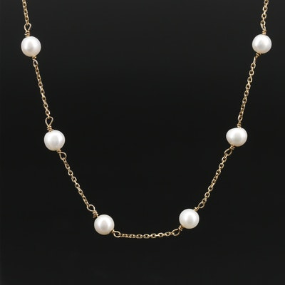14K Pearl Station Chain Necklace