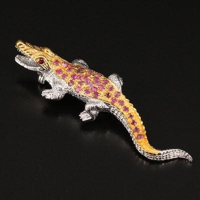Sterling Silver Ruby and Garnet Alligator Brooch
