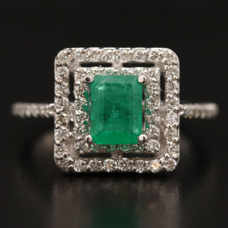 14K Emerald and Diamond Double Halo Ring