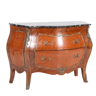 Louis XV Rococo Style Gilt Metal-Mounted Parquetry and Marble Top Bombe Commode