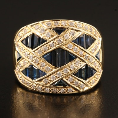 18K Blue Sapphire and Diamond Ring with Basket Weave Motif