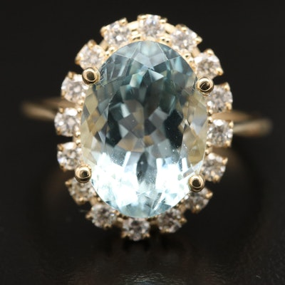 14K Aquamarine with Diamond Halo Ring