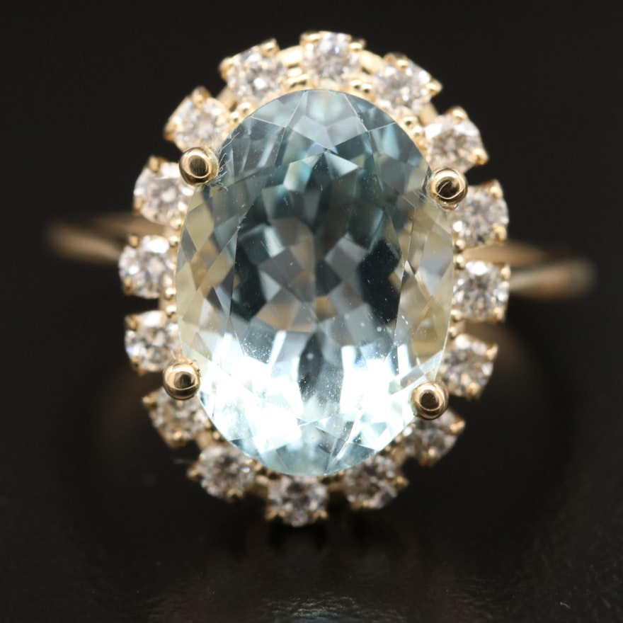 14K Aquamarine with Diamond Halo Ring