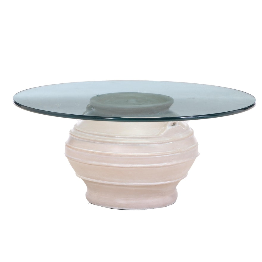 Painted and Cast Metal Urn-Form Coffee Table with Glass Top, Late 20th Century