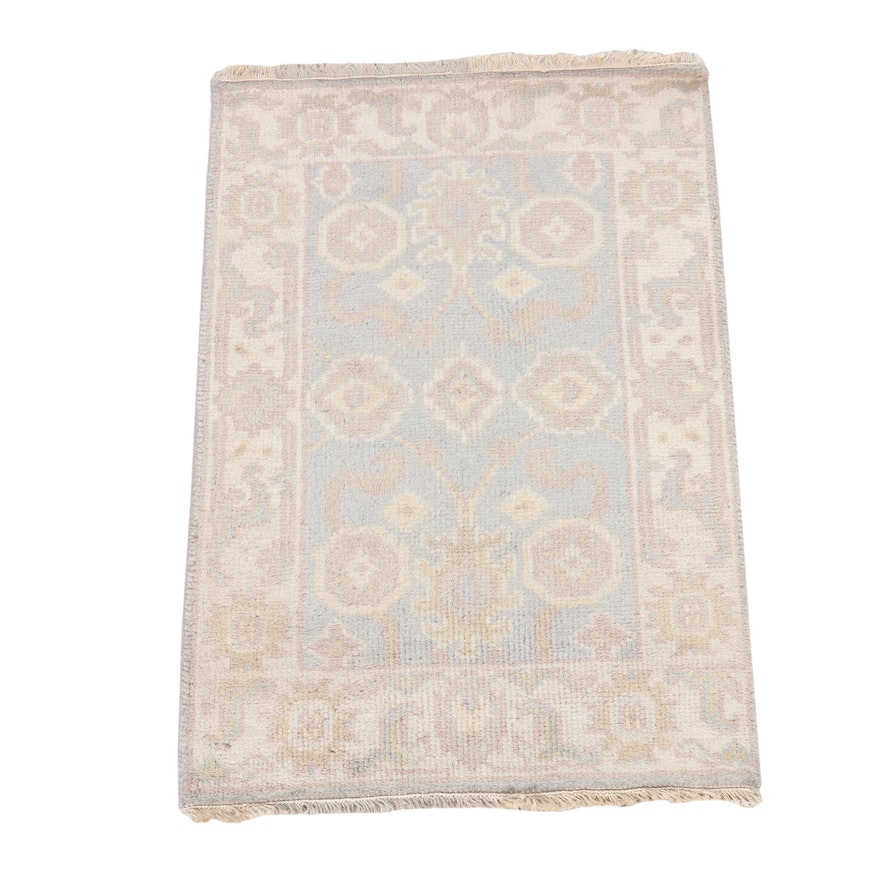 2'1 x 3'1 Hand-Knotted Indo-Turkish Oushak Rug