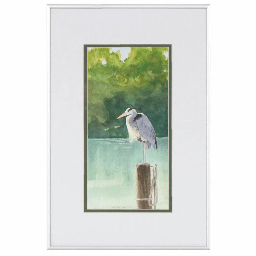 Sara Wilson Watercolor Painting of Heron