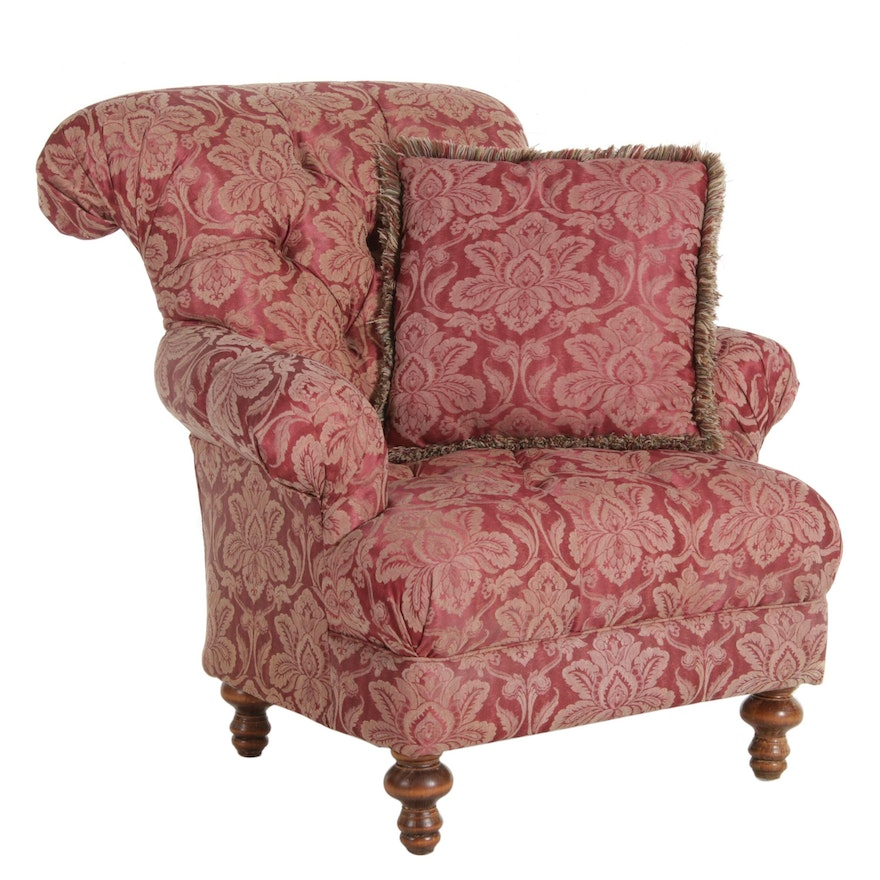 Rolled Back and Button Tufted Upholstered Lounge Chair