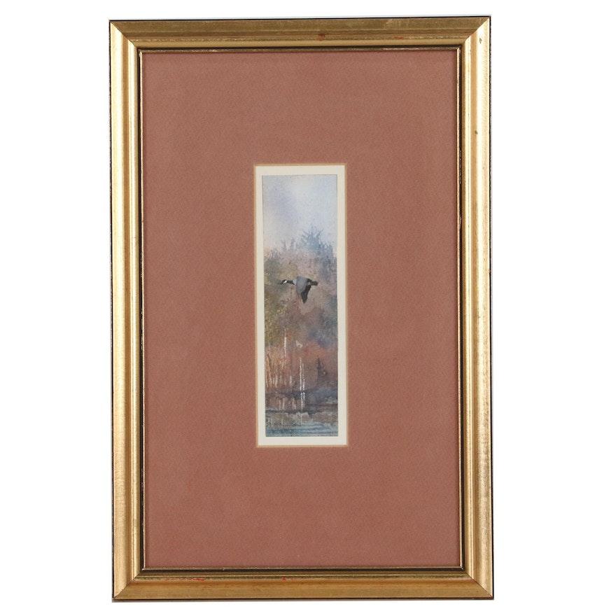 "Paul D. Winslow Watercolor Painting ""Lone Honker"", 1975"