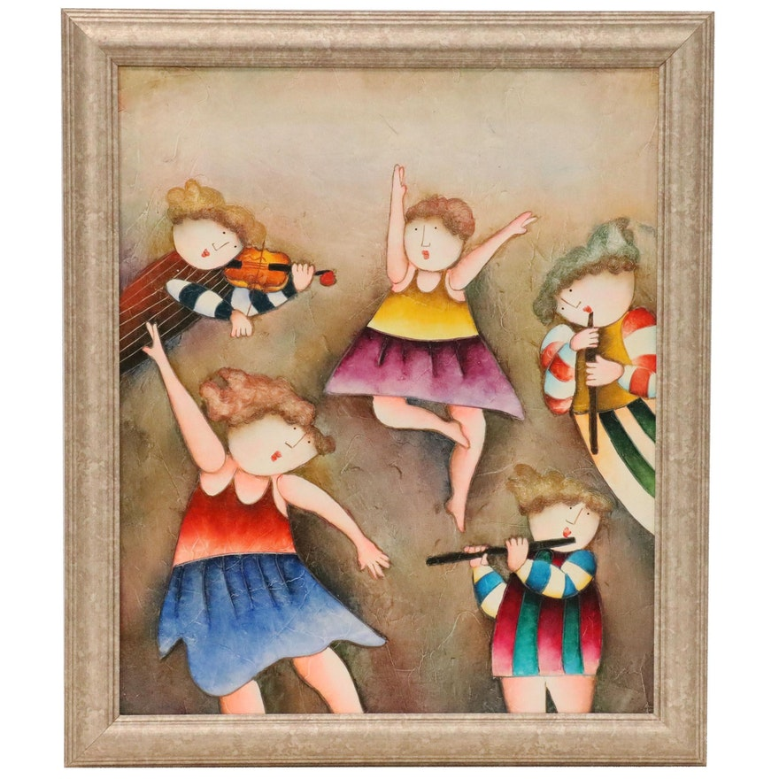 Oil Painting of Children in the Style of Joyce Roybal