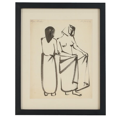 "Roger Baker Ink Brush Painting of Two Figures ""Day at the Spa"", 1960s"