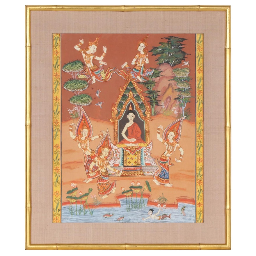Southeast Asian Gouache Painting of Gathered Mythic Figures