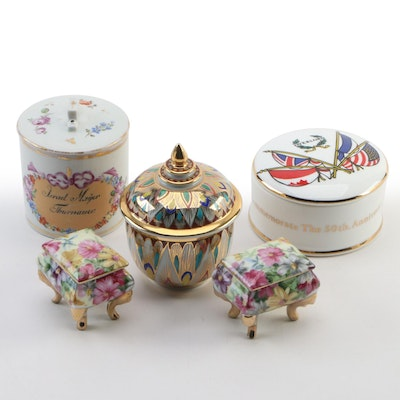 Royal Crown Duchy Commemorative Box and Other Porcelain Boxes