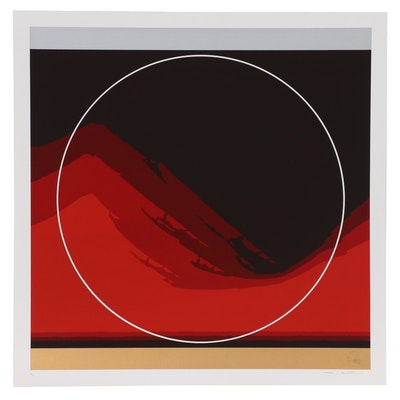 "Thomas W. Benton Abstract Serigraph ""Sun Mountain"", 1979"