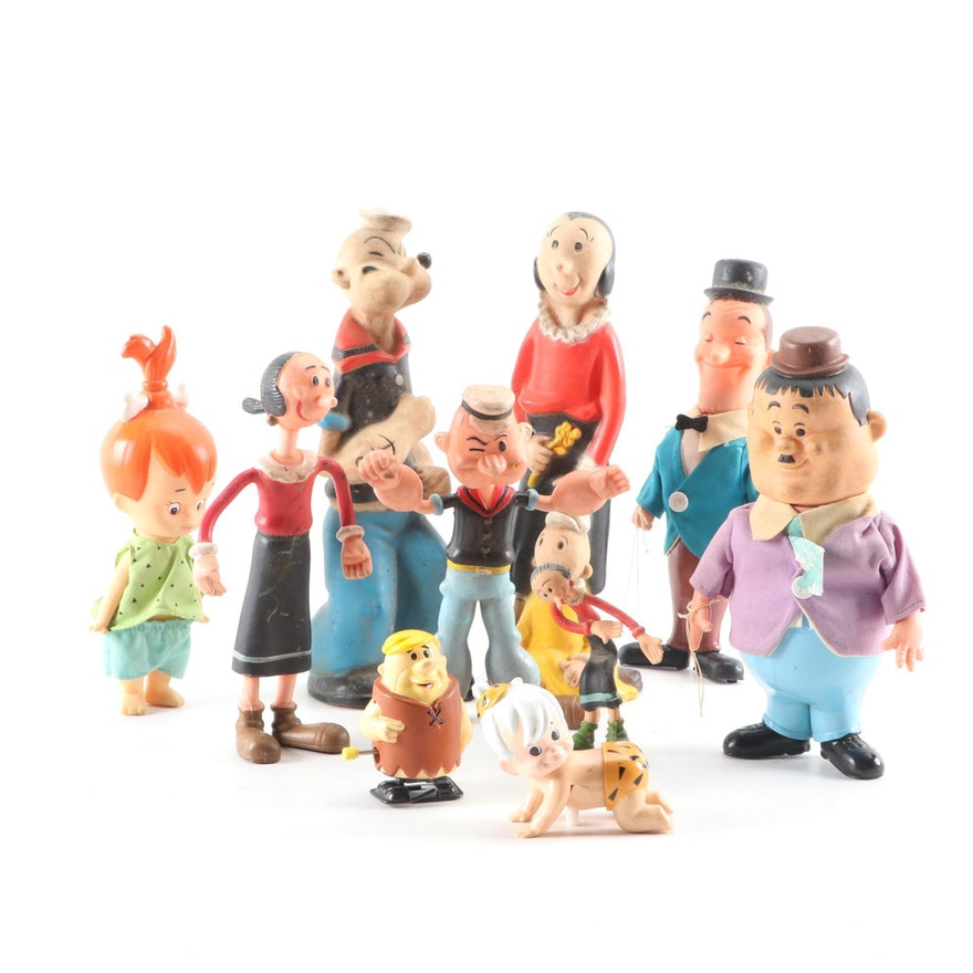 Laurel and Hardy, Popeye, Flintstone Characters and Windup Toys, Mid-20th C.