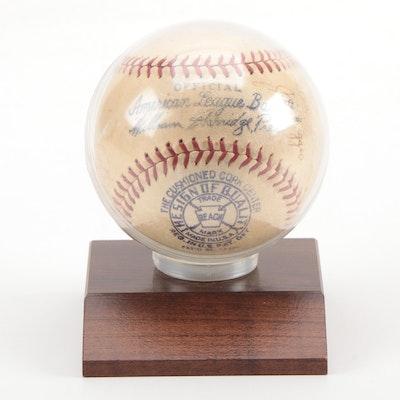 1938 New York Yankees Signed American League (Harridge) Reach Baseball
