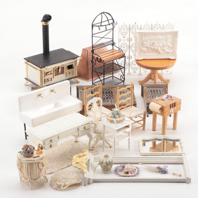 Miniature Bedroom and Kitchen Doll House Furniture, Late 20th Century
