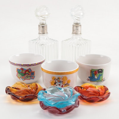 Houston Harvest Kellogg Characters Cereal Bowls, Glass Decanters and Ashtrays