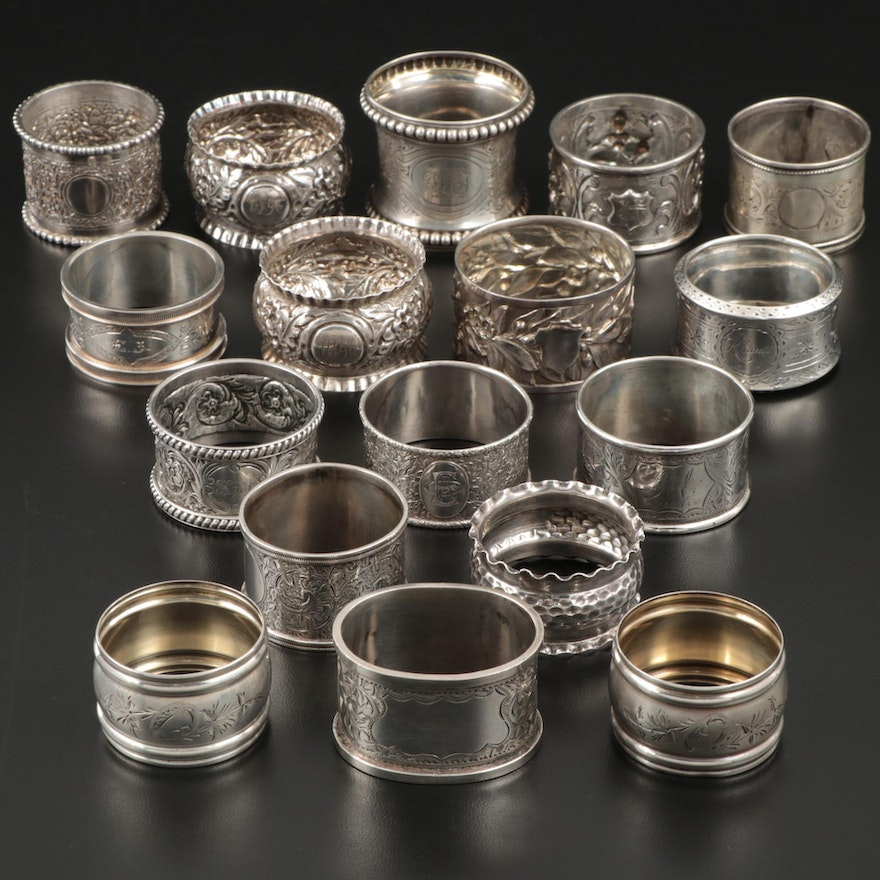 Sterling Silver and 800 Silver Napkin Rings, 19th and 20th Century