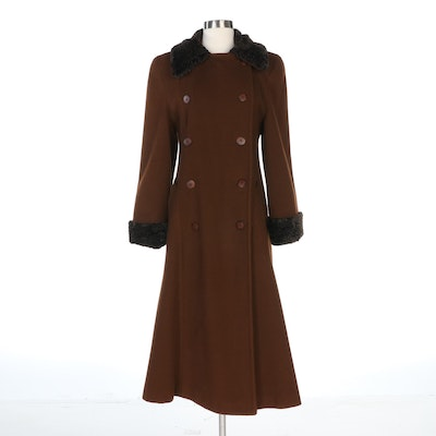 GHM Double-Breasted Brown Coat with Faux Persian Lamb Fur, Vintage