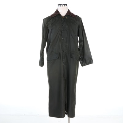 Barbour Burghley Green Waxed Cotton Trench Coat