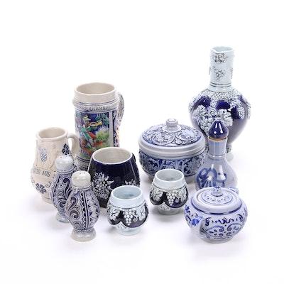 Salt Glaze German Tableware Including Beer Stein and Wine Ewer