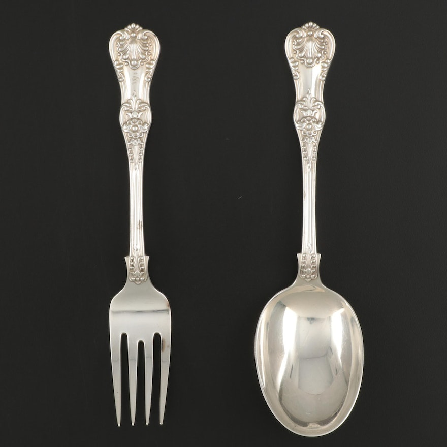 """Tiffany & Co. """"English King"""" Sterling Silver Serving Fork and Spoon, 1885–1891"""