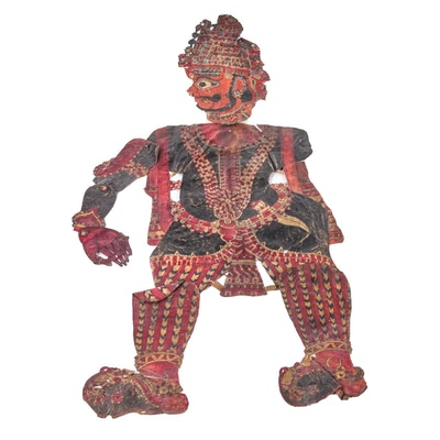 Life-Size Indonesian Wayang Kulit Shadow Puppet of Male Figure