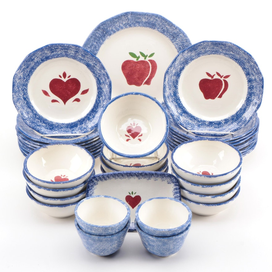 Signed Handmade Ceramic Dinnerware with Heart and House Motif, 1980s