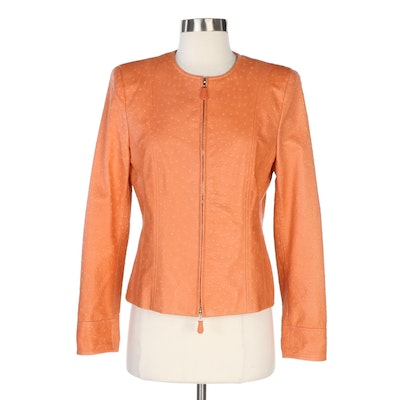 Escada Ostrich Embossed Lambskin Leather Zipper-Front Jacket in Persimmon