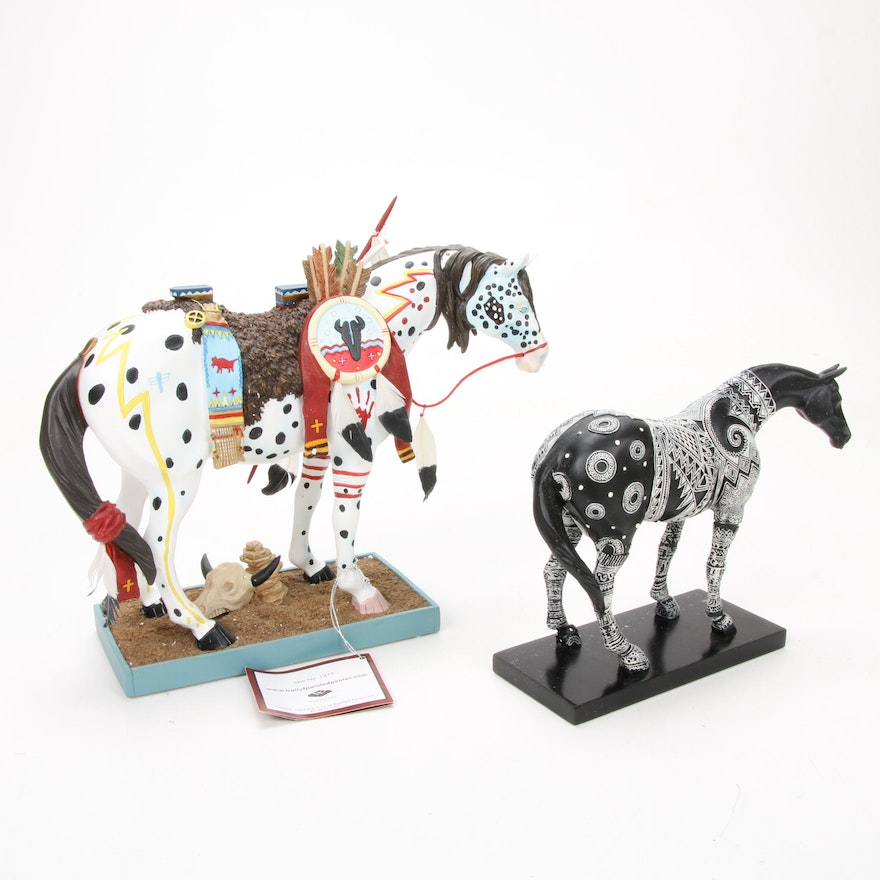 """The Trail of Painted Ponies """"Anasazi Spirit Horse"""" and """"War Pony"""" Figurines"""