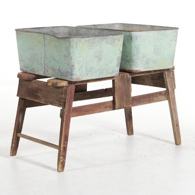 Double Basin Metal Wash Tubs on Rustic Wooden Base, Early 20th Century