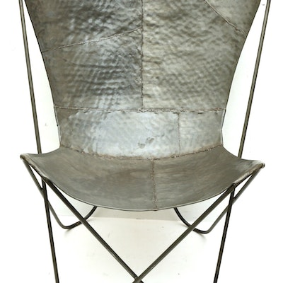 Hammered Sheet Metal Butterfly Chair, Contemporary