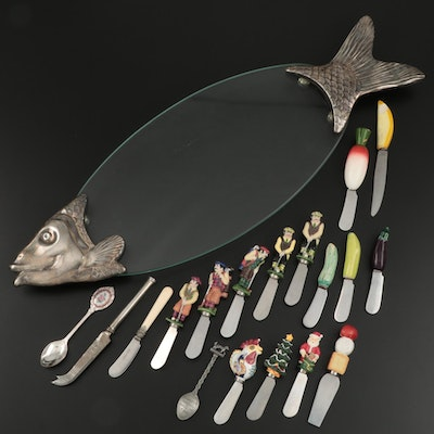 Silver Plate and Glass Fish Motif Serving Tray with Assorted Character Knives