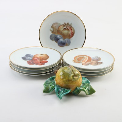 Thomas Bavaria Porcelain Fruit Plates with Glazed Ceramic Pomegranate Sculpture