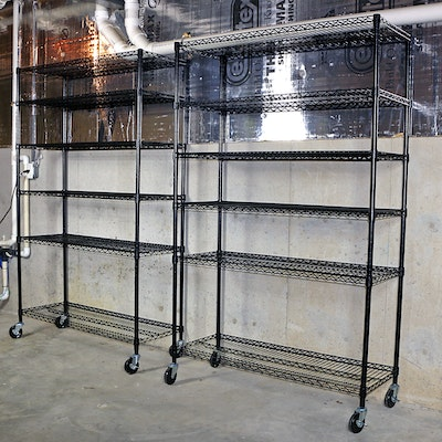 NSF Black Heavy Duty 6-Shelf Wire Storage Racks on Locking Casters