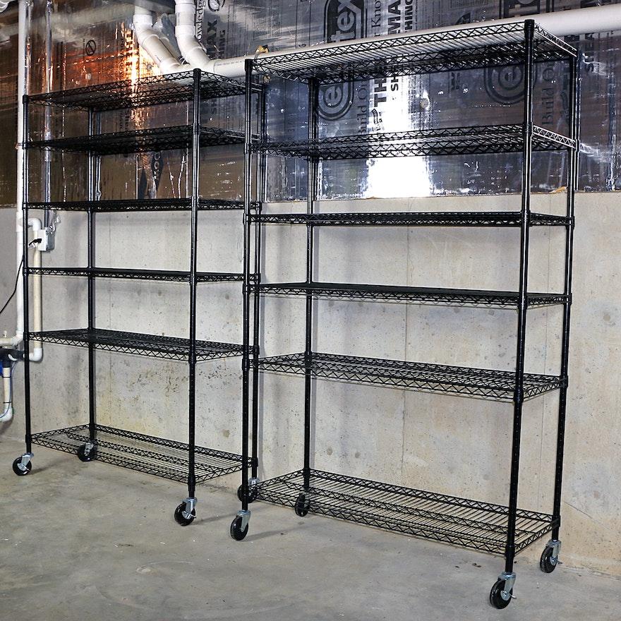 NSF Black Heavy Duty 6-Shelf Wire Storage Racks on Locking Casters