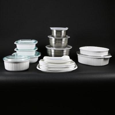 CorningWare White Bakeware and Cuisinart Stainless Bowls