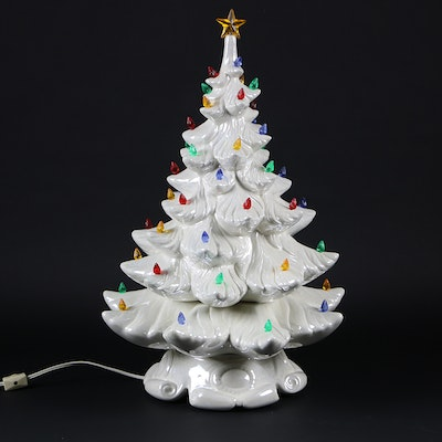 White Ceramic Light-Up Christmas Tree