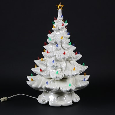 White Ceramic Light-Up Christmas Tree