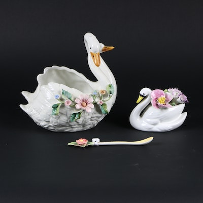 Sandford China Swan with Flowers, Italian Double Swan Figurine, Demitasse Spoon