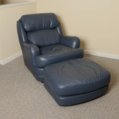 Classic Leather Brand Blue Leather Lounge Chair and Ottoman
