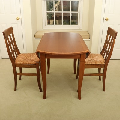Pier 1 Oak Drop Leaf Table with Rush Seat Side Chairs