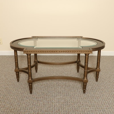 John Widdicomb Regency Style Black Lacquered Glass Top Coffee Table