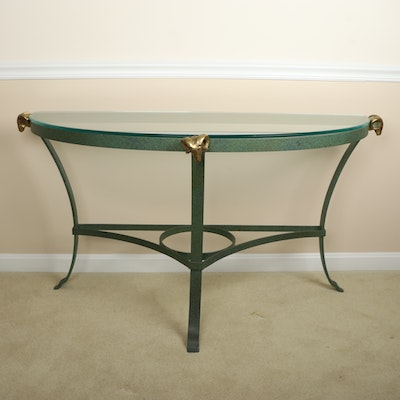 Faux Painted Glass Top Demilune Console Table with Ram Head Accents