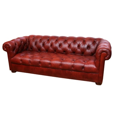 Ethan Allen Oxblood Leather Chesterfield Sofa